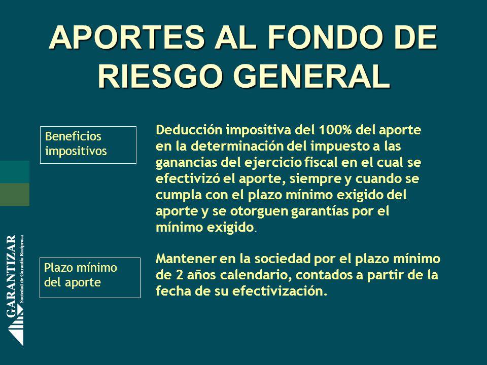 APORTES AL FONDO DE RIESGO GENERAL Beneficios impositivos Deducción impositiva del 100% del aporte en la determinación del impuesto a las ganancias de