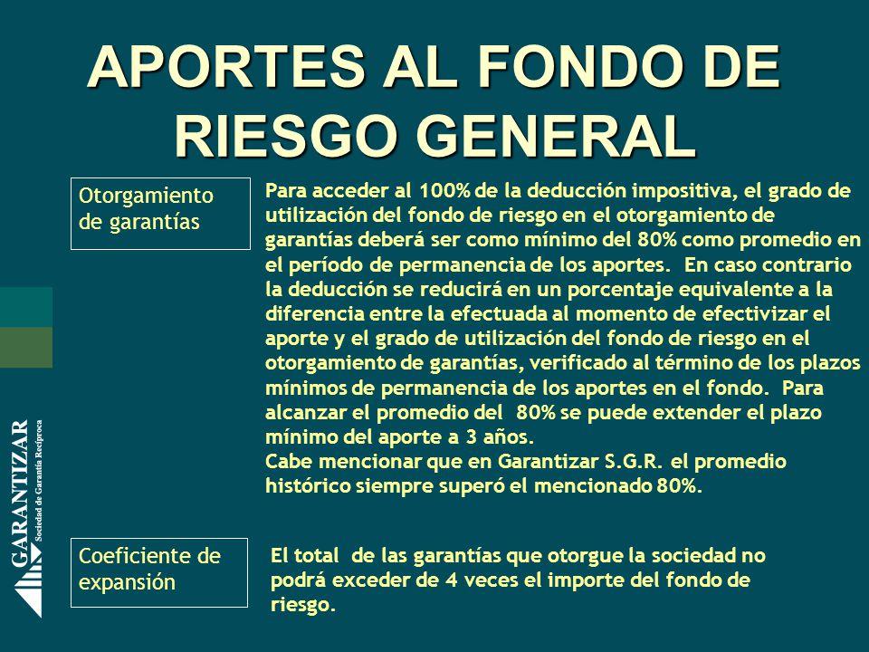 APORTES AL FONDO DE RIESGO GENERAL Otorgamiento de garantías Para acceder al 100% de la deducción impositiva, el grado de utilización del fondo de rie