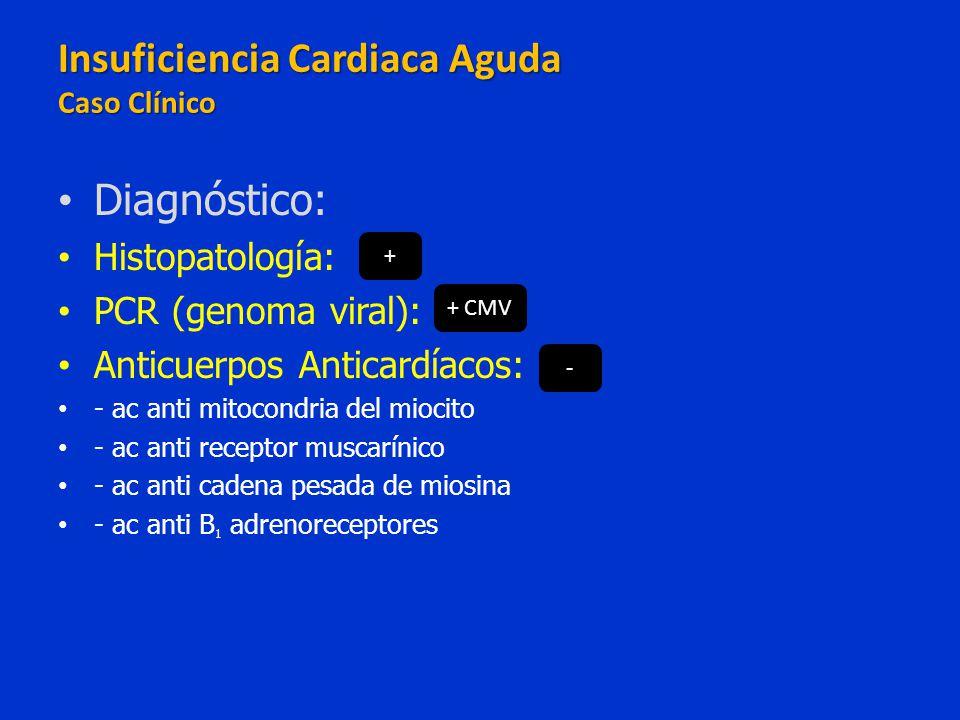 Diagnóstico: Histopatología: PCR (genoma viral): Anticuerpos Anticardíacos: - ac anti mitocondria del miocito - ac anti receptor muscarínico - ac anti
