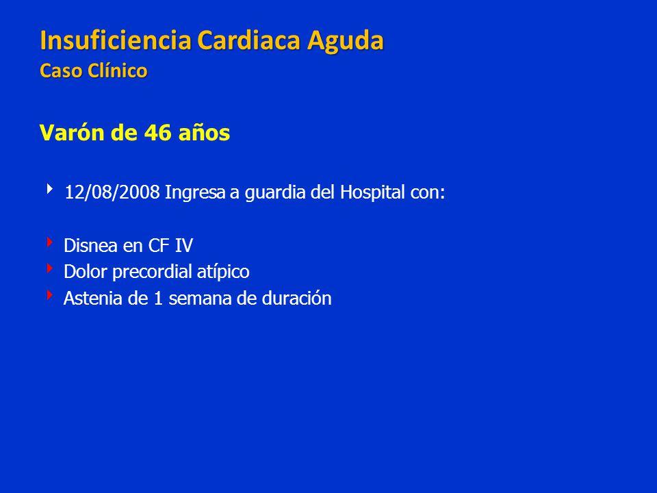 Insuficiencia Cardiaca Aguda Caso Clínico Insuficiencia Cardiaca Aguda Caso Clínico Varón de 46 años 12/08/2008 Ingresa a guardia del Hospital con: Di