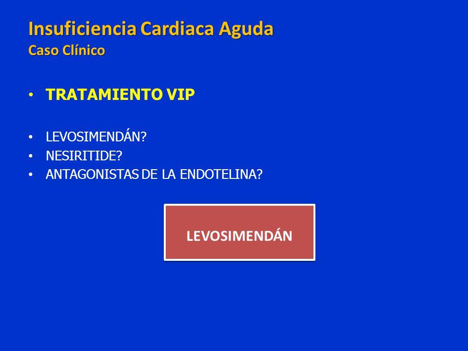 TRATAMIENTO VIP LEVOSIMENDÁN? NESIRITIDE? ANTAGONISTAS DE LA ENDOTELINA? LEVOSIMENDÁN Insuficiencia Cardiaca Aguda Caso Clínico Insuficiencia Cardiaca
