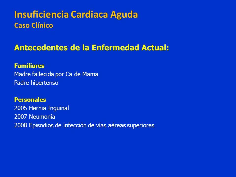 Insuficiencia Cardiaca Aguda Caso Clínico Insuficiencia Cardiaca Aguda Caso Clínico Antecedentes de la Enfermedad Actual: Familiares Madre fallecida p