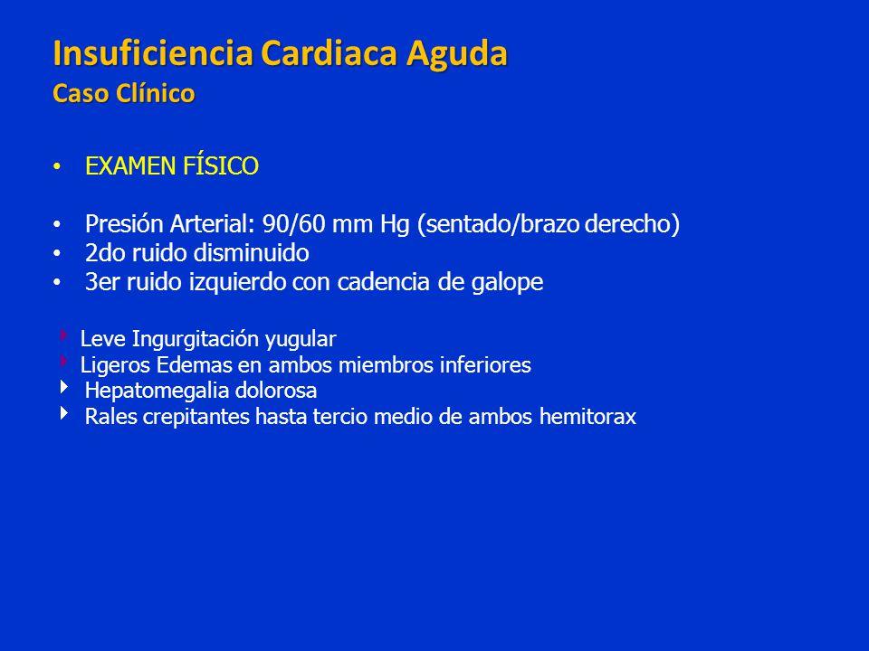 EXAMEN FÍSICO Presión Arterial: 90/60 mm Hg (sentado/brazo derecho) 2do ruido disminuido 3er ruido izquierdo con cadencia de galope Leve Ingurgitación