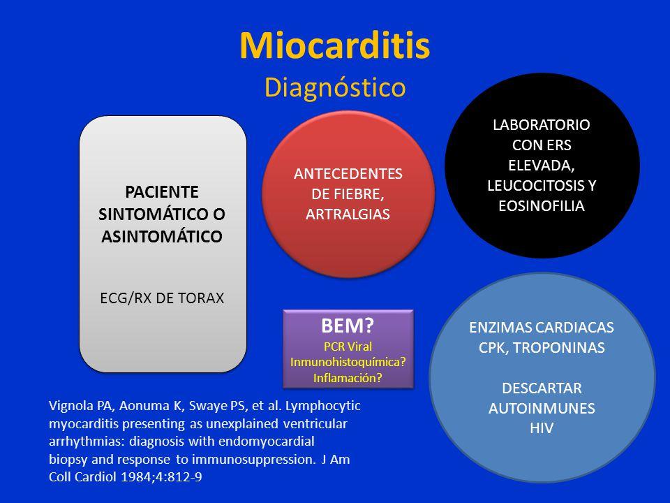 Miocarditis Diagnóstico PACIENTE SINTOMÁTICO O ASINTOMÁTICO ECG/RX DE TORAX PACIENTE SINTOMÁTICO O ASINTOMÁTICO ECG/RX DE TORAX ANTECEDENTES DE FIEBRE