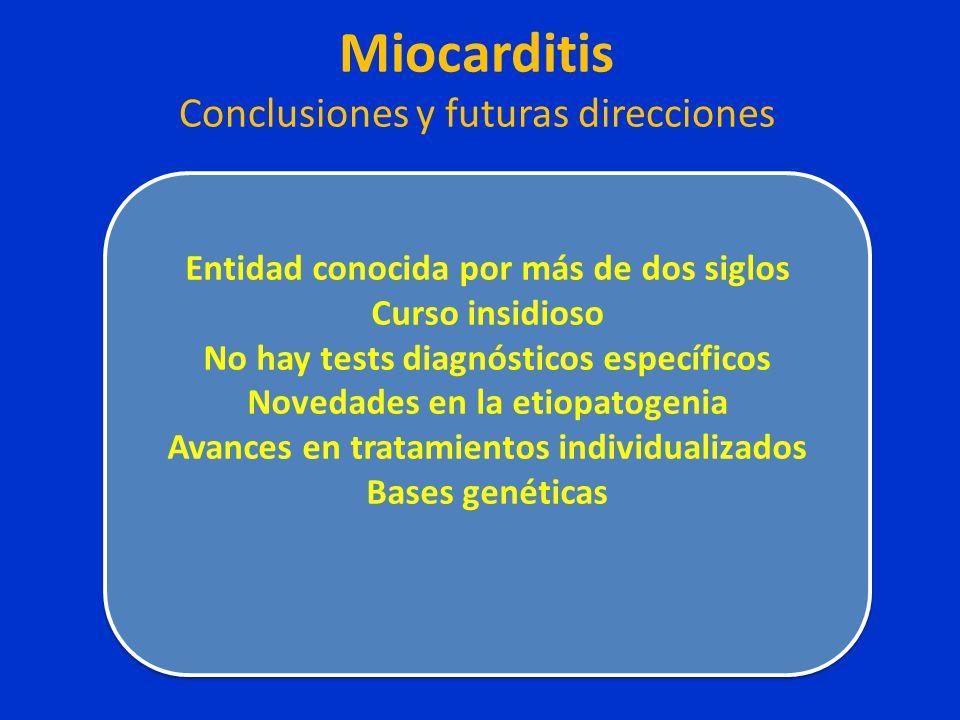Miocarditis Conclusiones y futuras direcciones Entidad conocida por más de dos siglos Curso insidioso No hay tests diagnósticos específicos Novedades