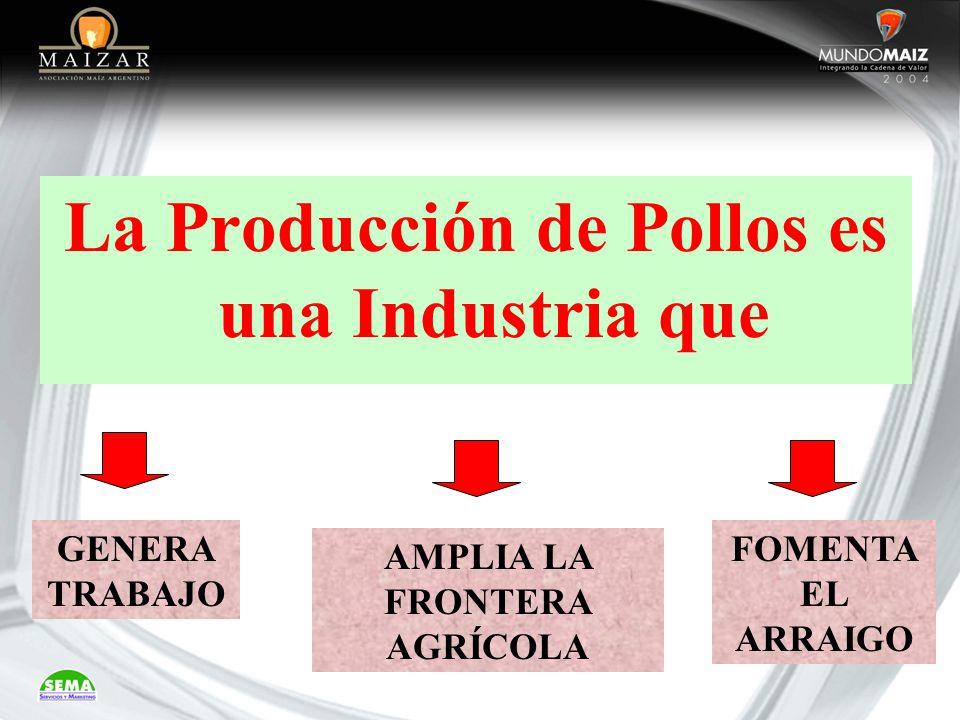 La Producción de Pollos es una Industria que AMPLIA LA FRONTERA AGRÍCOLA GENERA TRABAJO FOMENTA EL ARRAIGO