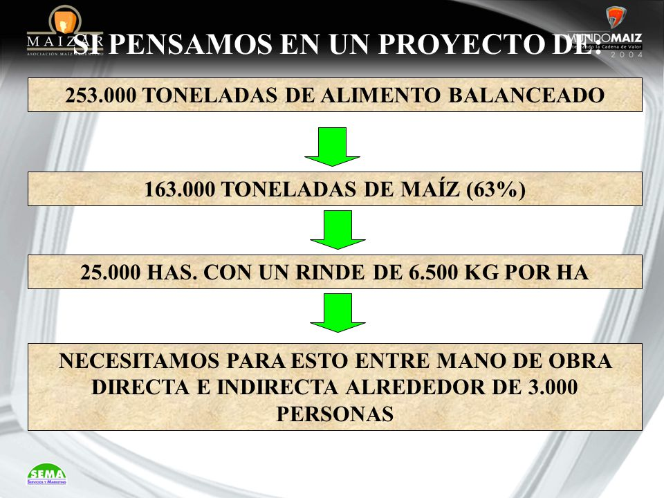 SI PENSAMOS EN UN PROYECTO DE: 25.000 HAS. CON UN RINDE DE 6.500 KG POR HA 253.000 TONELADAS DE ALIMENTO BALANCEADO 163.000 TONELADAS DE MAÍZ (63%) NE