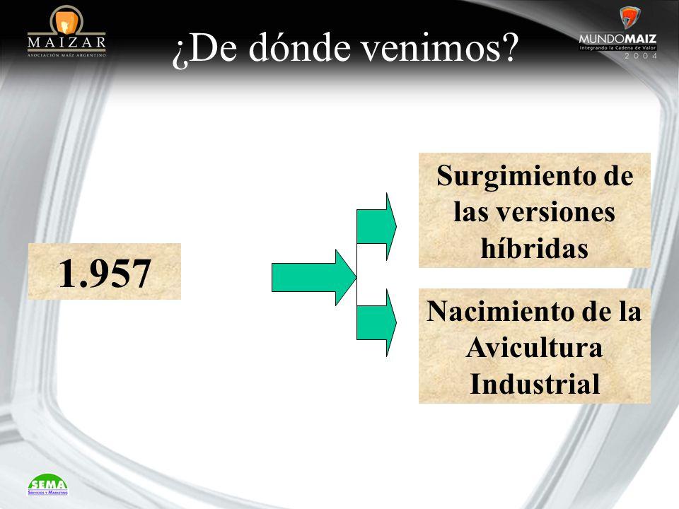 ¿De dónde venimos? 1.957 Surgimiento de las versiones híbridas Nacimiento de la Avicultura Industrial