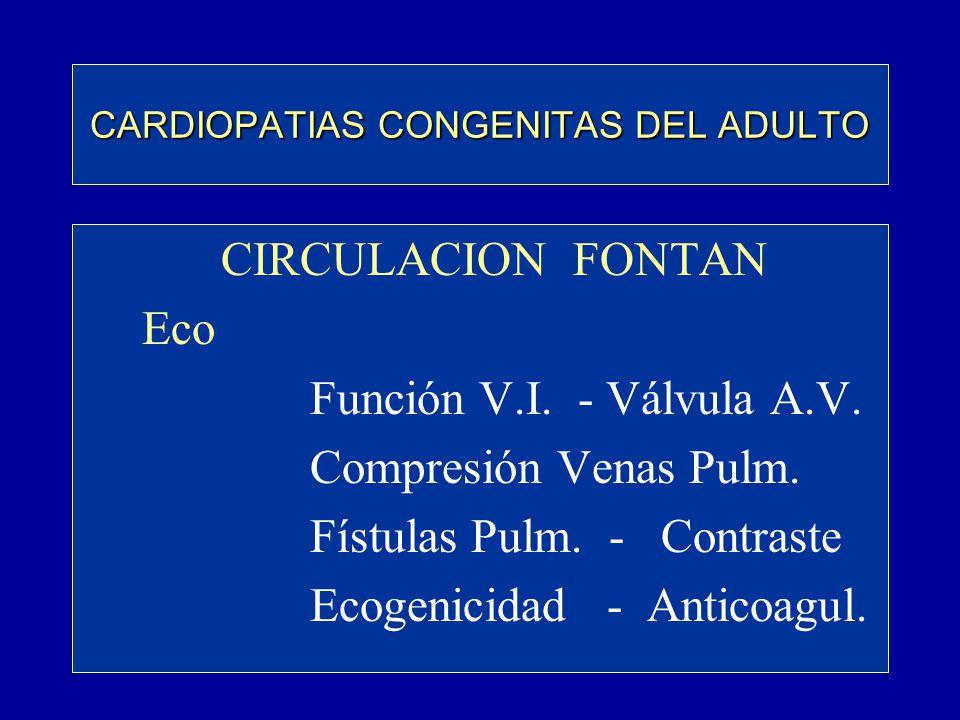 CARDIOPATIAS CONGENITAS DEL ADULTO CIRCULACION FONTAN Eco Función V.I. - Válvula A.V. Compresión Venas Pulm. Fístulas Pulm. - Contraste Ecogenicidad -