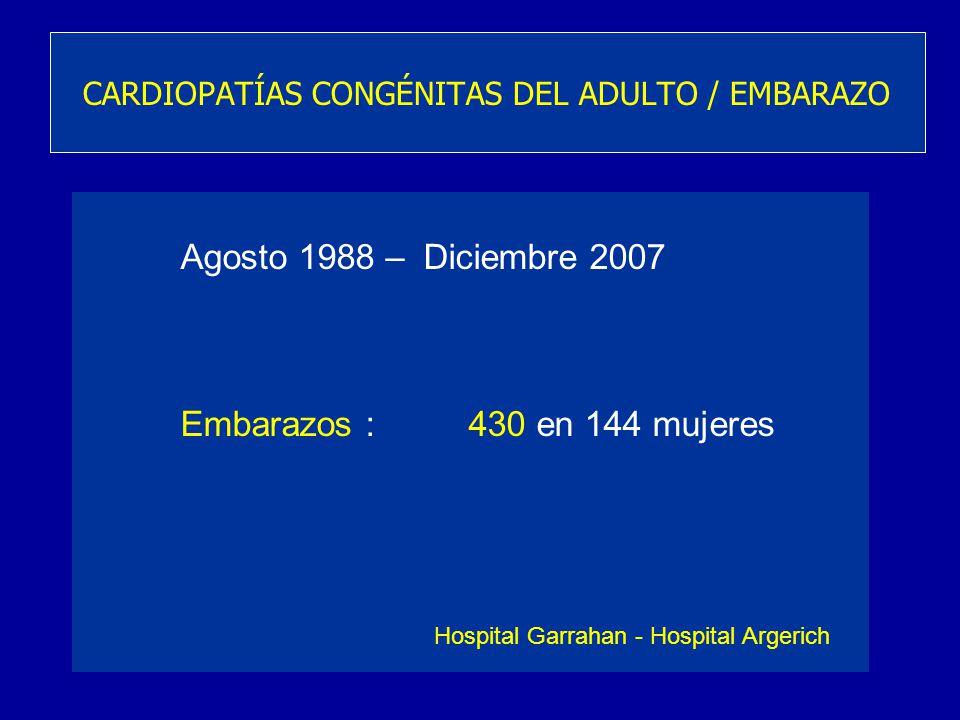 Agosto 1988 – Diciembre 2007 Embarazos :430 en 144 mujeres CARDIOPATÍAS CONGÉNITAS DEL ADULTO / EMBARAZO Hospital Garrahan - Hospital Argerich