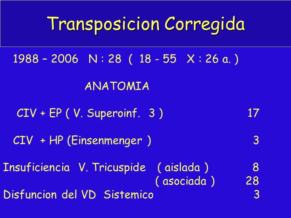 Transposicion Corregida 1988 – 2006 N : 28 ( 18 - 55 X : 26 a. ) ANATOMIA CIV + EP ( V. Superoinf. 3 ) 17 CIV + HP (Einsenmenger ) 3 Insuficiencia V.