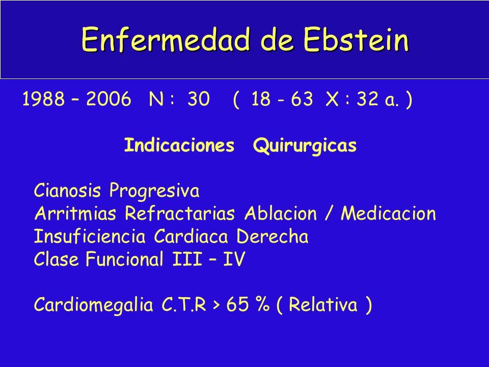 Enfermedad de Ebstein 1988 – 2006 N : 30 ( 18 - 63 X : 32 a. ) Indicaciones Quirurgicas Cianosis Progresiva Arritmias Refractarias Ablacion / Medicaci
