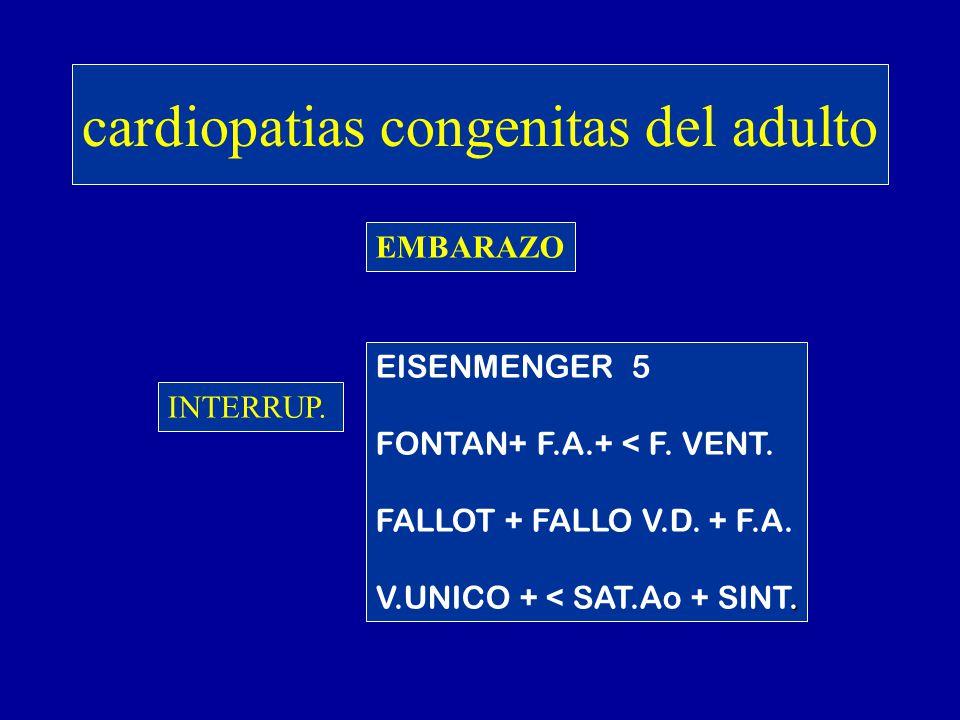 cardiopatias congenitas del adulto EMBARAZO INTERR INTERRUP. EISENMENGER 5 FONTAN+ F.A.+ < F. VENT. FALLOT + FALLO V.D. + F.A.. V.UNICO + < SAT.Ao + S