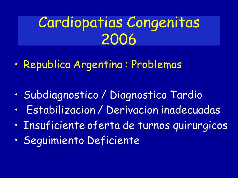 Cardiopatias Congenitas 2006 Republica Argentina : Problemas Subdiagnostico / Diagnostico Tardio Estabilizacion / Derivacion inadecuadas Insuficiente
