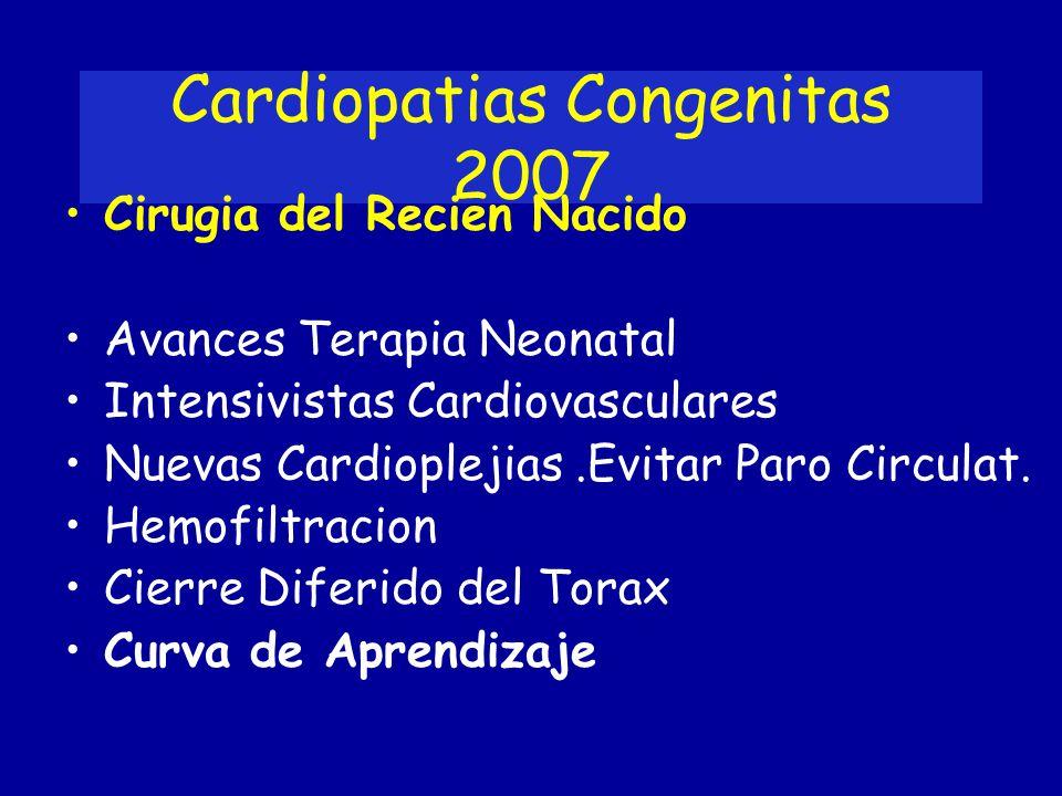 Cardiopatias Congenitas 2007 Cirugia del Recien Nacido Avances Terapia Neonatal Intensivistas Cardiovasculares Nuevas Cardioplejias.Evitar Paro Circul