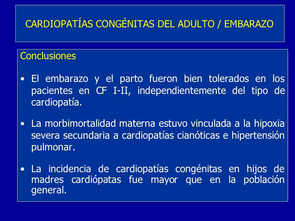 Conclusiones El embarazo y el parto fueron bien tolerados en los pacientes en CF I-II, independientemente del tipo de cardiopatía. La morbimortalidad