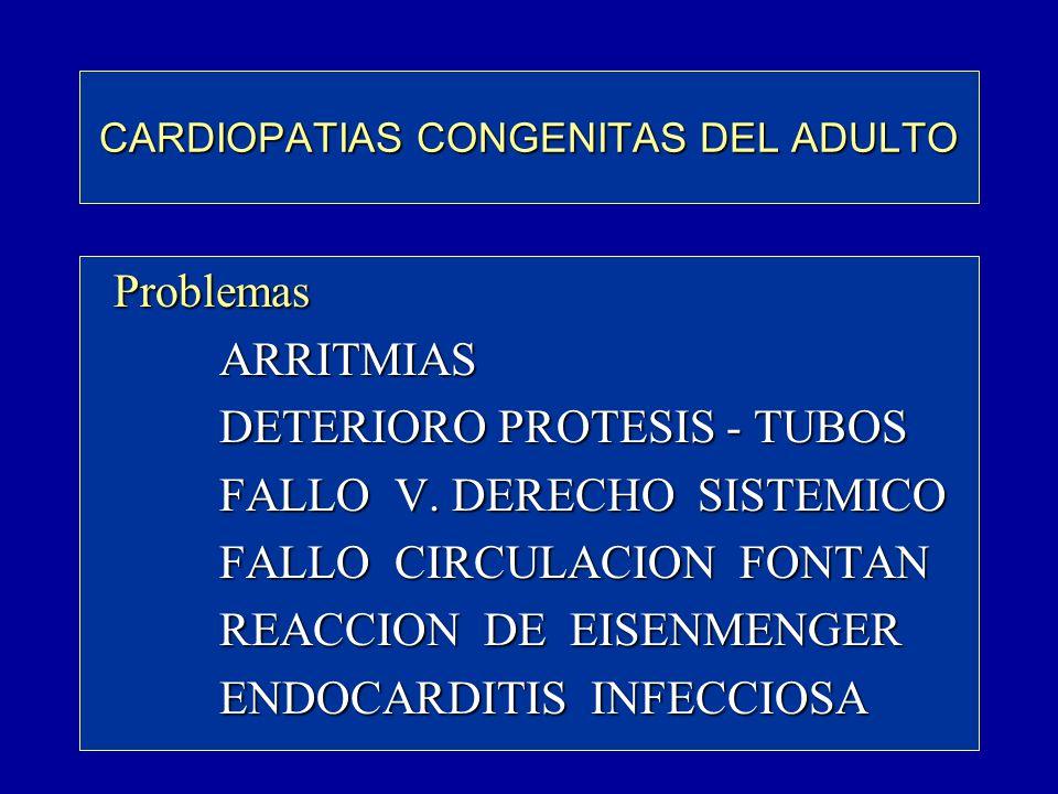 CARDIOPATIAS CONGENITAS DEL ADULTO Problemas Problemas ARRITMIAS ARRITMIAS DETERIORO PROTESIS - TUBOS DETERIORO PROTESIS - TUBOS FALLO V. DERECHO SIST
