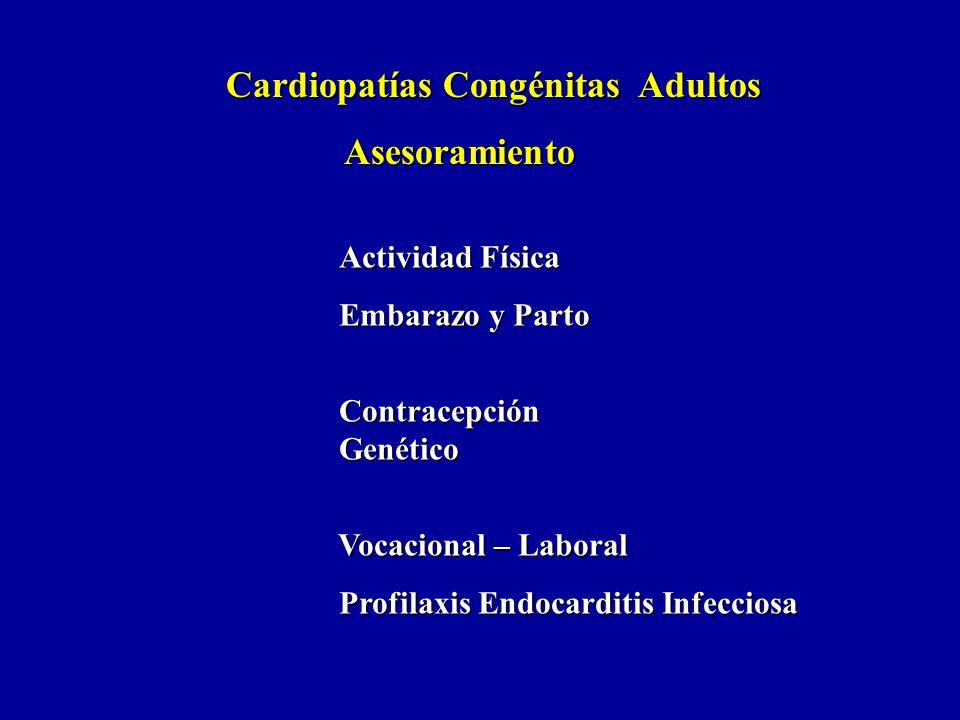 Cardiopatías Congénitas Adultos Asesoramiento Asesoramiento Actividad Física Embarazo y Parto Embarazo y Parto Contracepción Contracepción Genético Ge