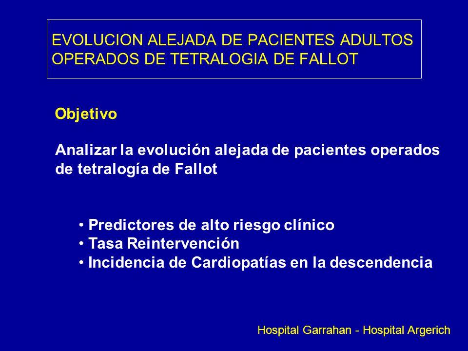 EVOLUCION ALEJADA DE PACIENTES ADULTOS OPERADOS DE TETRALOGIA DE FALLOT Objetivo Analizar la evolución alejada de pacientes operados de tetralogía de