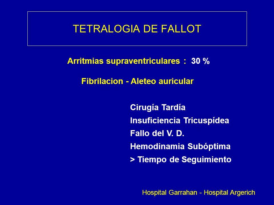 TETRALOGIA DE FALLOT Arritmias supraventriculares : 30 % Fibrilacion - Aleteo auricular Cirugía Tardía Insuficiencia Tricuspídea Fallo del V. D. Hemod