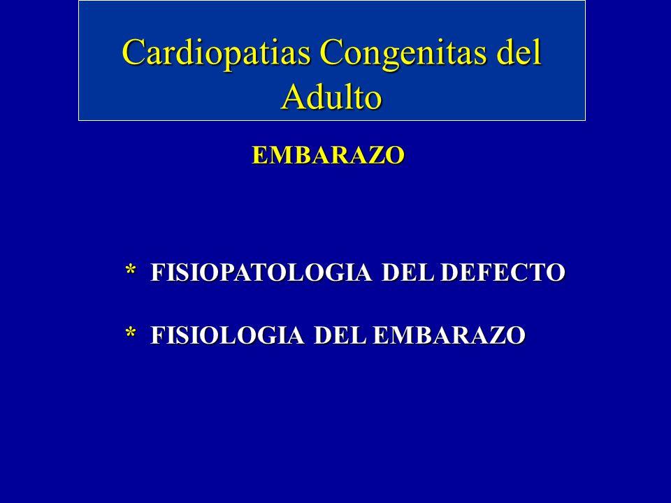 Cardiopatias Congenitas del Adulto EMBARAZO * FISIOPATOLOGIA DEL DEFECTO * FISIOLOGIA DEL EMBARAZO