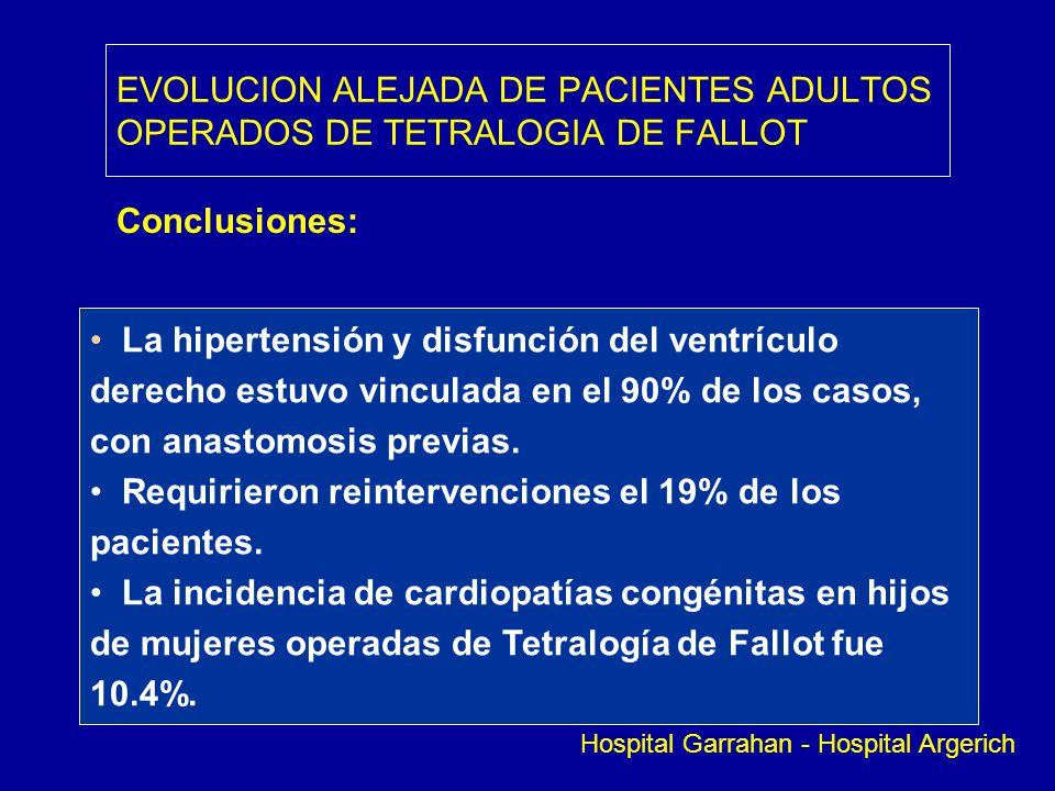 EVOLUCION ALEJADA DE PACIENTES ADULTOS OPERADOS DE TETRALOGIA DE FALLOT Conclusiones: La hipertensión y disfunción del ventrículo derecho estuvo vincu