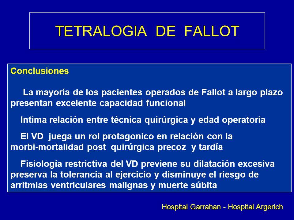TETRALOGIA DE FALLOT Conclusiones La mayoría de los pacientes operados de Fallot a largo plazo presentan excelente capacidad funcional Intima relación