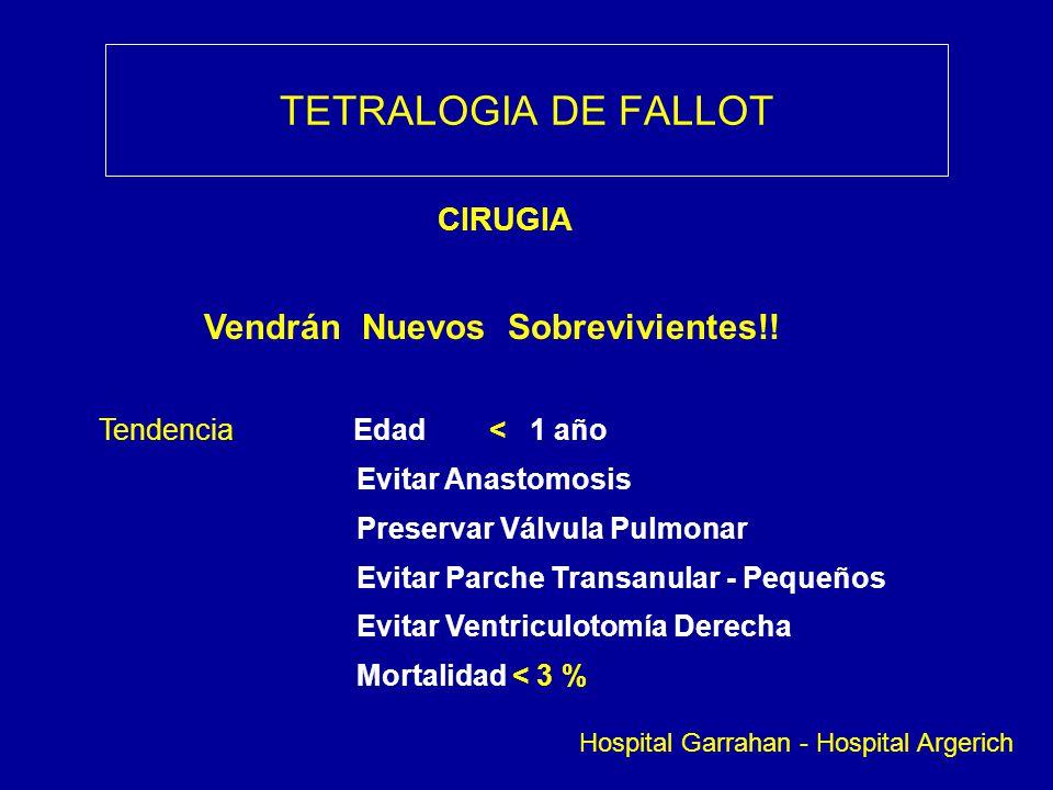 TETRALOGIA DE FALLOT CIRUGIA Vendrán Nuevos Sobrevivientes!! Tendencia Edad < 1 año Evitar Anastomosis Preservar Válvula Pulmonar Evitar Parche Transa