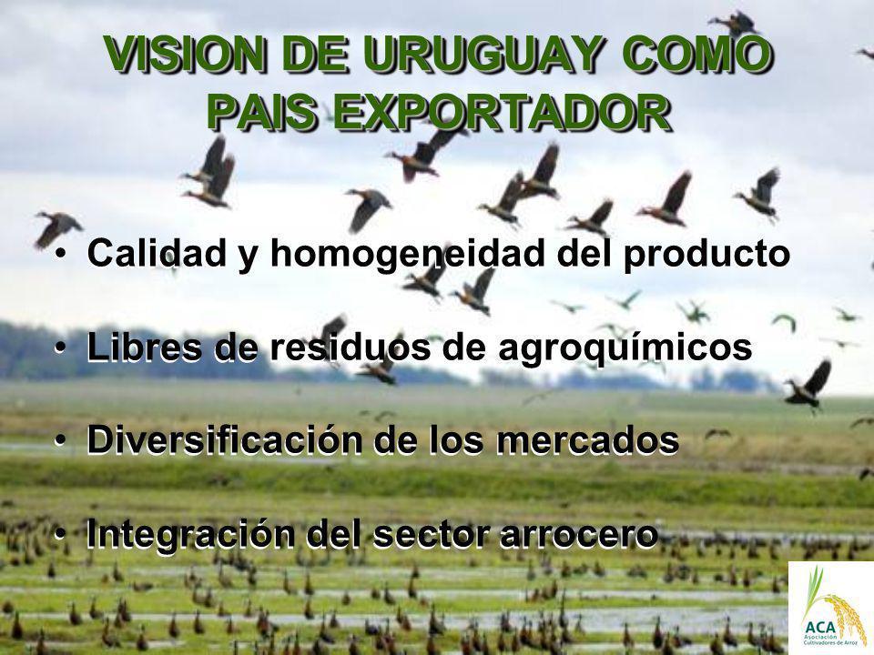VISION DE URUGUAY COMO PAIS EXPORTADOR Calidad y homogeneidad del producto Libres de residuos de agroquímicos Diversificación de los mercados Integrac