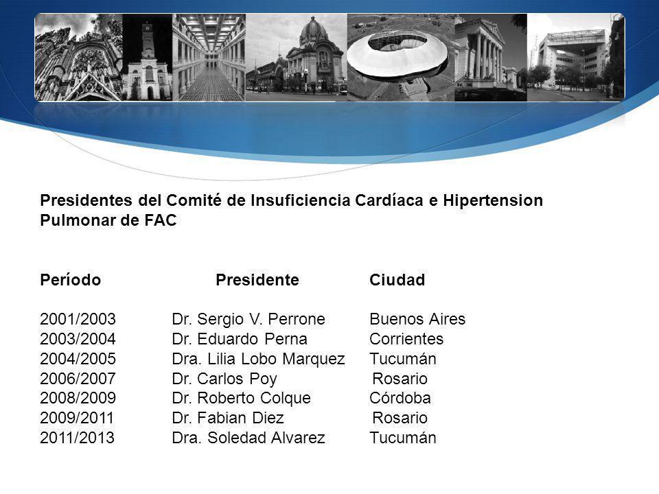 Presidentes del Comité de Insuficiencia Cardíaca e Hipertension Pulmonar de FAC Período Presidente Ciudad 2001/2003Dr. Sergio V. PerroneBuenos Aires 2