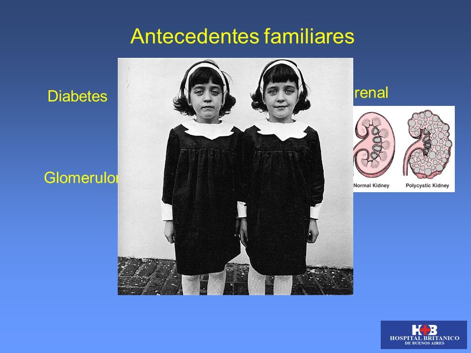 Antecedentes familiares Diabetes Poliquistosis renal GlomerulonefritisLupus Hipertensión