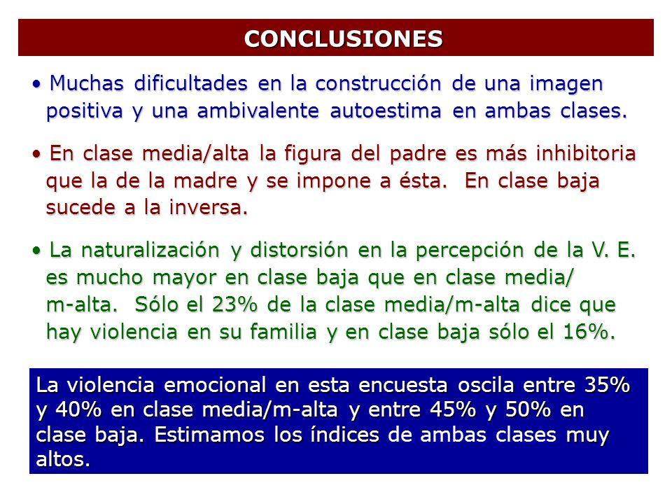 CONCLUSIONES CONCLUSIONES Muchas dificultades en la construcción de una imagen Muchas dificultades en la construcción de una imagen positiva y una amb