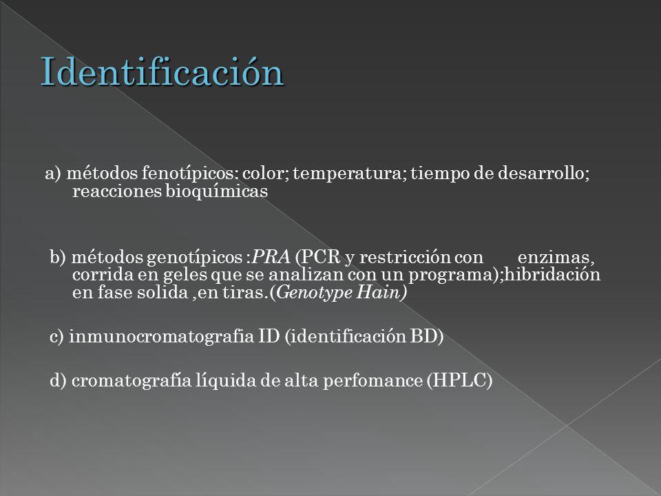 a) métodos fenotípicos: color; temperatura; tiempo de desarrollo; reacciones bioquímicas b) métodos genotípicos : PRA (PCR y restricción con enzimas,