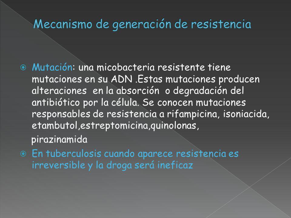 Mutación: una micobacteria resistente tiene mutaciones en su ADN.Estas mutaciones producen alteraciones en la absorción o degradación del antibiótico