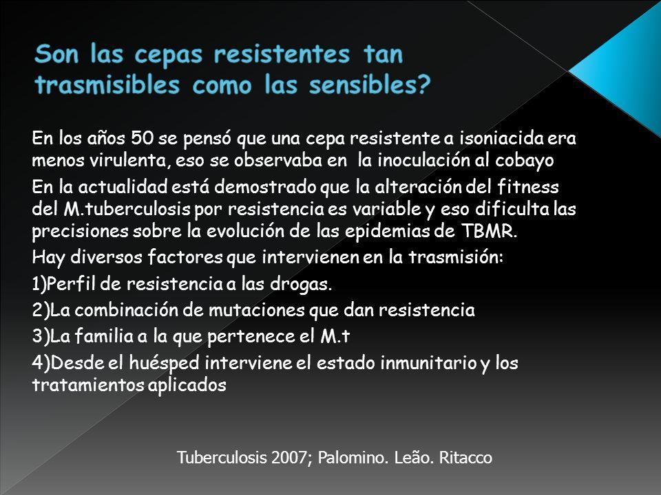 En los años 50 se pensó que una cepa resistente a isoniacida era menos virulenta, eso se observaba en la inoculación al cobayo En la actualidad está d