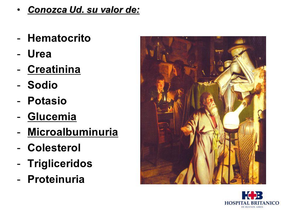 Conozca Ud. su valor de:Conozca Ud. su valor de: -Hematocrito -Urea -Creatinina -Sodio -Potasio -Glucemia -Microalbuminuria -Colesterol -Trigliceridos