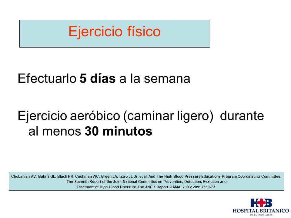 Efectuarlo 5 días a la semana Ejercicio aeróbico (caminar ligero) durante al menos 30 minutos Ejercicio físico Chobanian AV, Bakris GL, Black HR, Cush