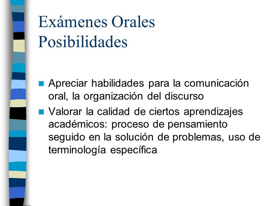 Exámenes Orales Posibilidades Apreciar habilidades para la comunicación oral, la organización del discurso Valorar la calidad de ciertos aprendizajes