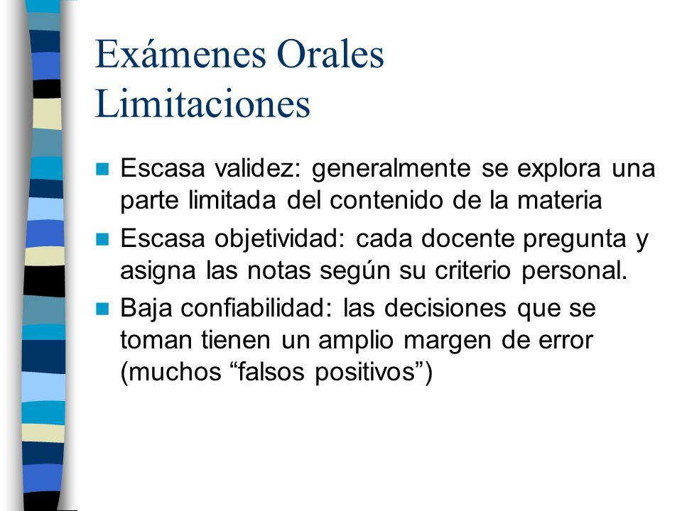 Exámenes Orales Limitaciones Escasa validez: generalmente se explora una parte limitada del contenido de la materia Escasa objetividad: cada docente p