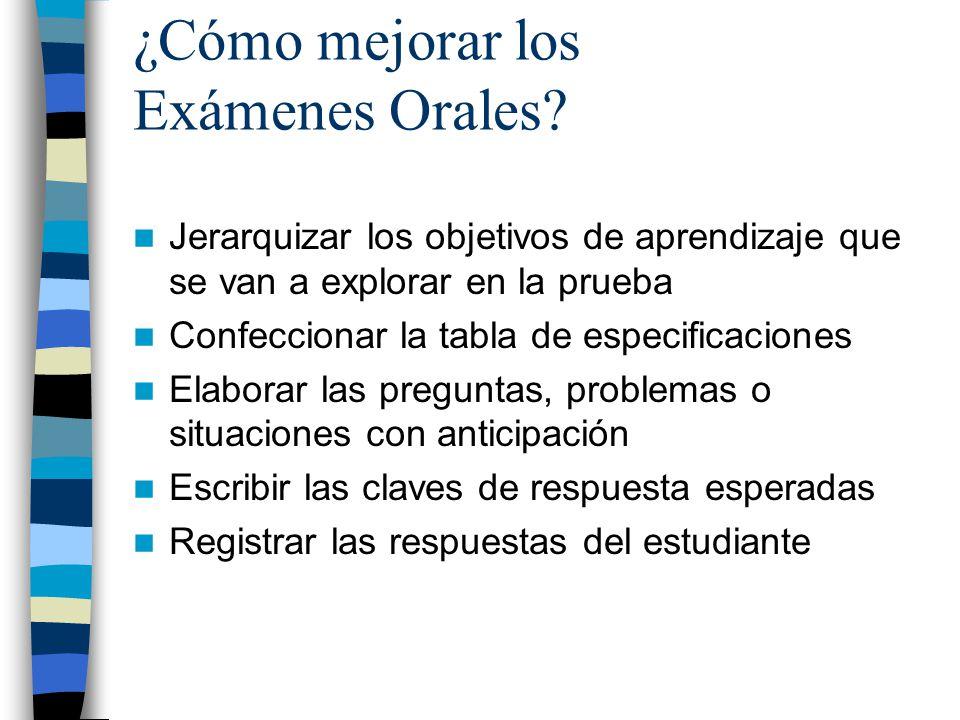 ¿Cómo mejorar los Exámenes Orales? Jerarquizar los objetivos de aprendizaje que se van a explorar en la prueba Confeccionar la tabla de especificacion