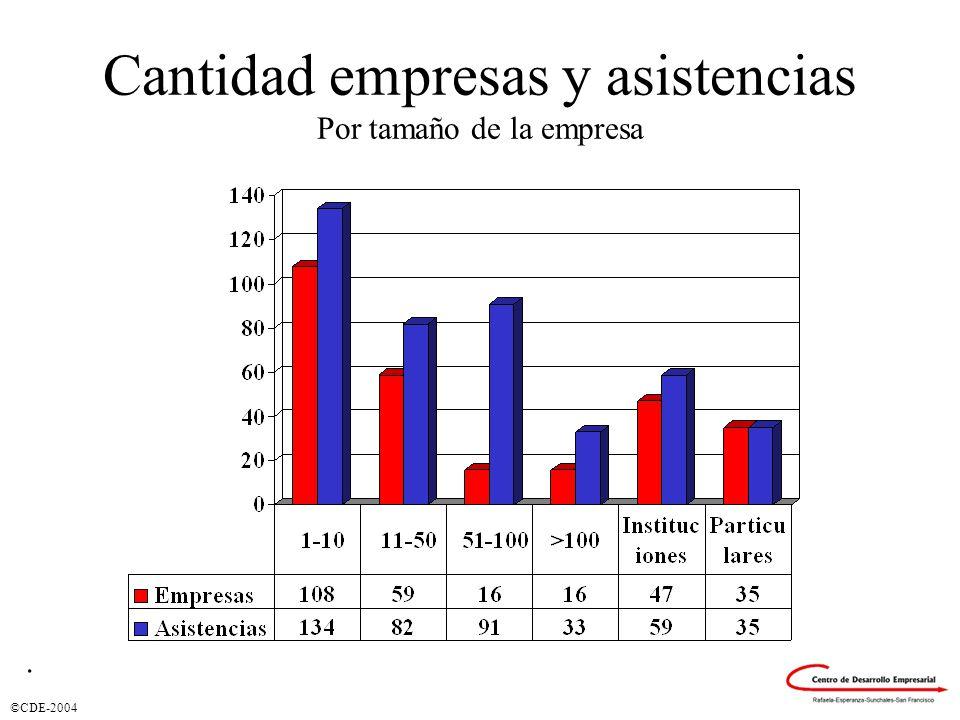 ©CDE-2004 Cantidad empresas y asistencias Por tamaño de la empresa.