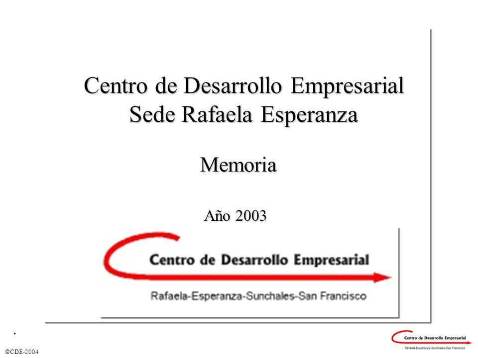 ©CDE-2004 Memoria Centro de Desarrollo Empresarial Sede Rafaela Esperanza Año 2003.