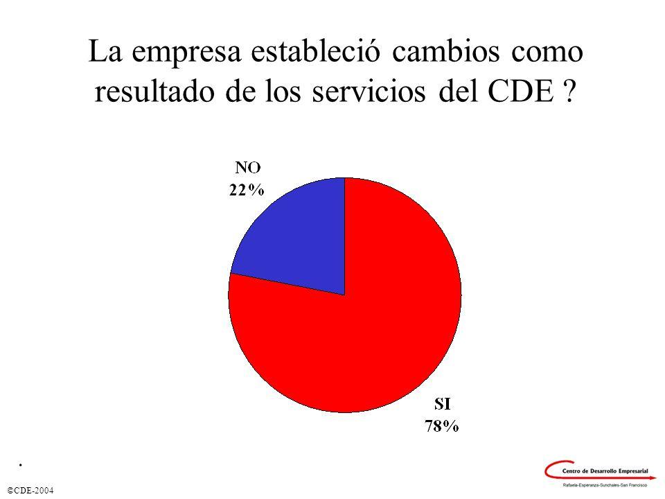 ©CDE-2004 La empresa estableció cambios como resultado de los servicios del CDE ?.