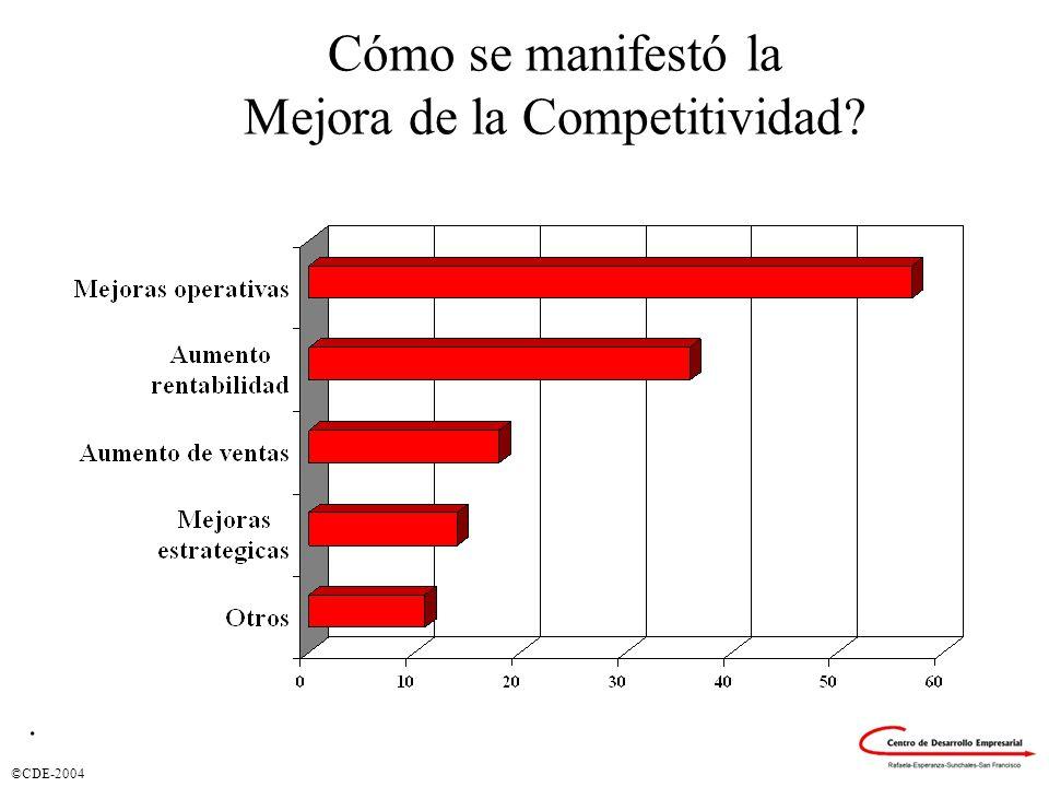 ©CDE-2004 Cómo se manifestó la Mejora de la Competitividad?.