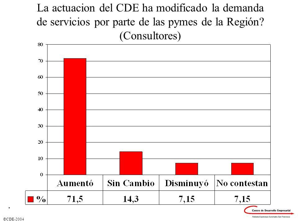 ©CDE-2004 La actuacion del CDE ha modificado la demanda de servicios por parte de las pymes de la Región.