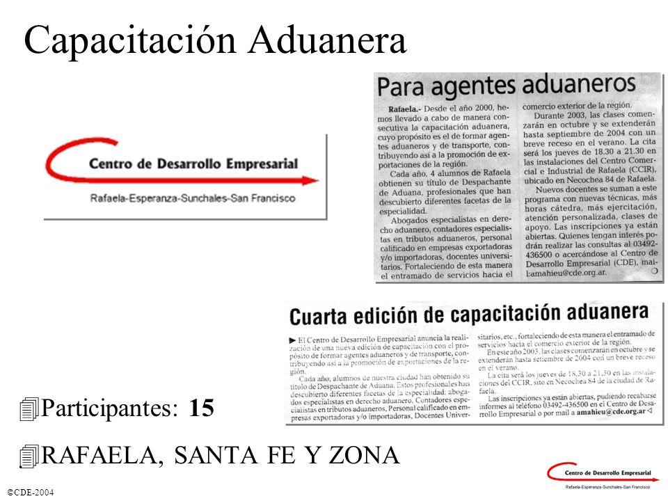 ©CDE-2004 Capacitación Aduanera 4Participantes: 15 4RAFAELA, SANTA FE Y ZONA.