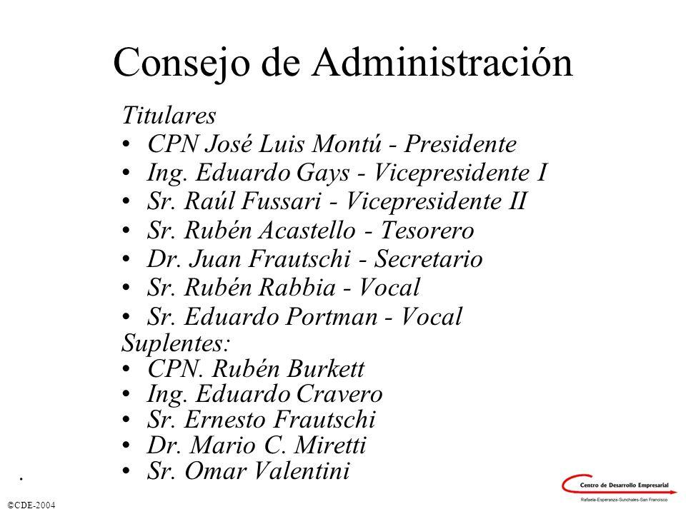 ©CDE-2004 Consejo de Administración Titulares CPN José Luis Montú - Presidente Ing.