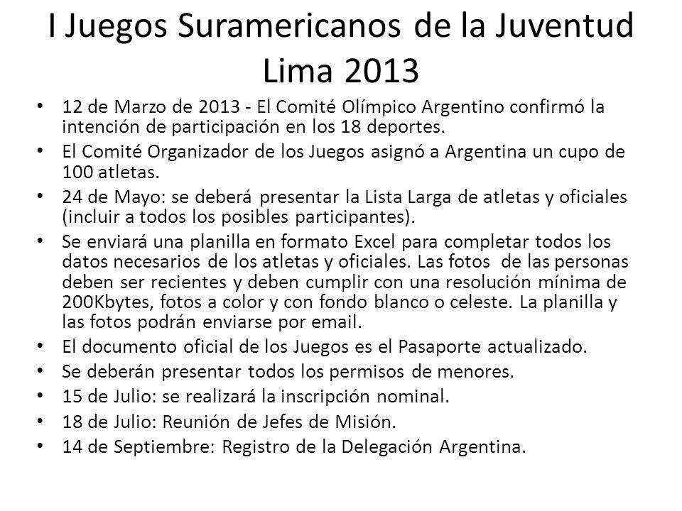 I Juegos Suramericanos de la Juventud Lima 2013 12 de Marzo de 2013 - El Comité Olímpico Argentino confirmó la intención de participación en los 18 deportes.