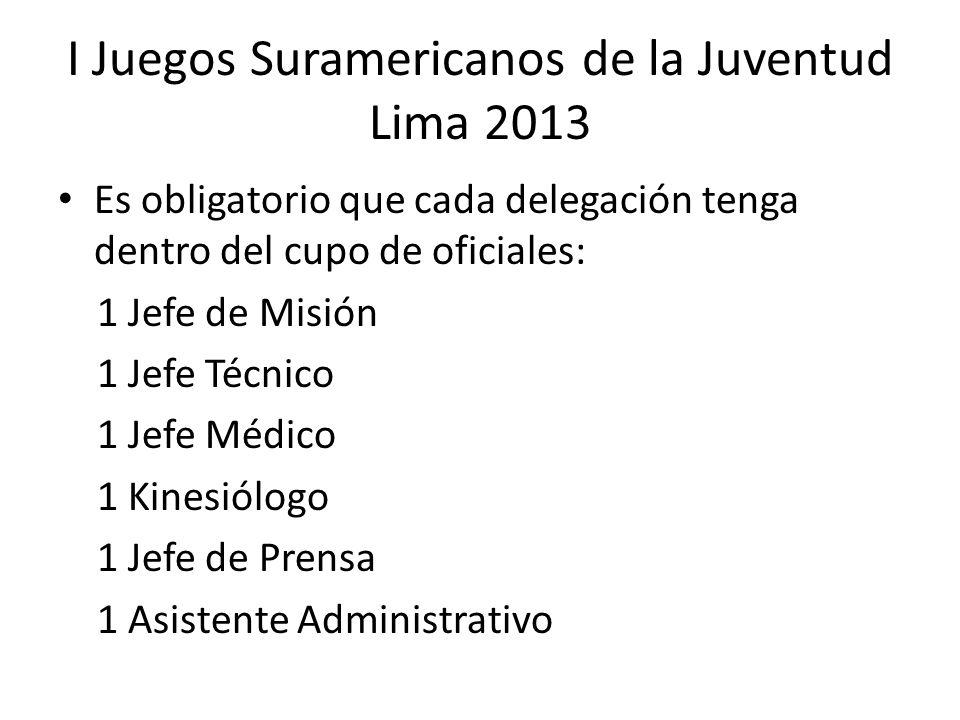 Es obligatorio que cada delegación tenga dentro del cupo de oficiales: 1 Jefe de Misión 1 Jefe Técnico 1 Jefe Médico 1 Kinesiólogo 1 Jefe de Prensa 1 Asistente Administrativo I Juegos Suramericanos de la Juventud Lima 2013