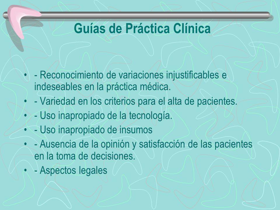Guías de Práctica Clínica - Reconocimiento de variaciones injustificables e indeseables en la práctica médica. - Variedad en los criterios para el alt